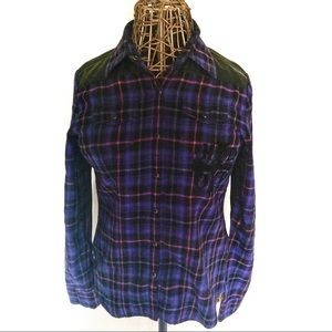 Harley Davidson Plaid and Faux Leather Shirt